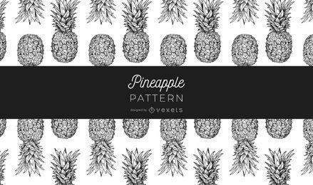 Padrão de abacaxi preto e branco