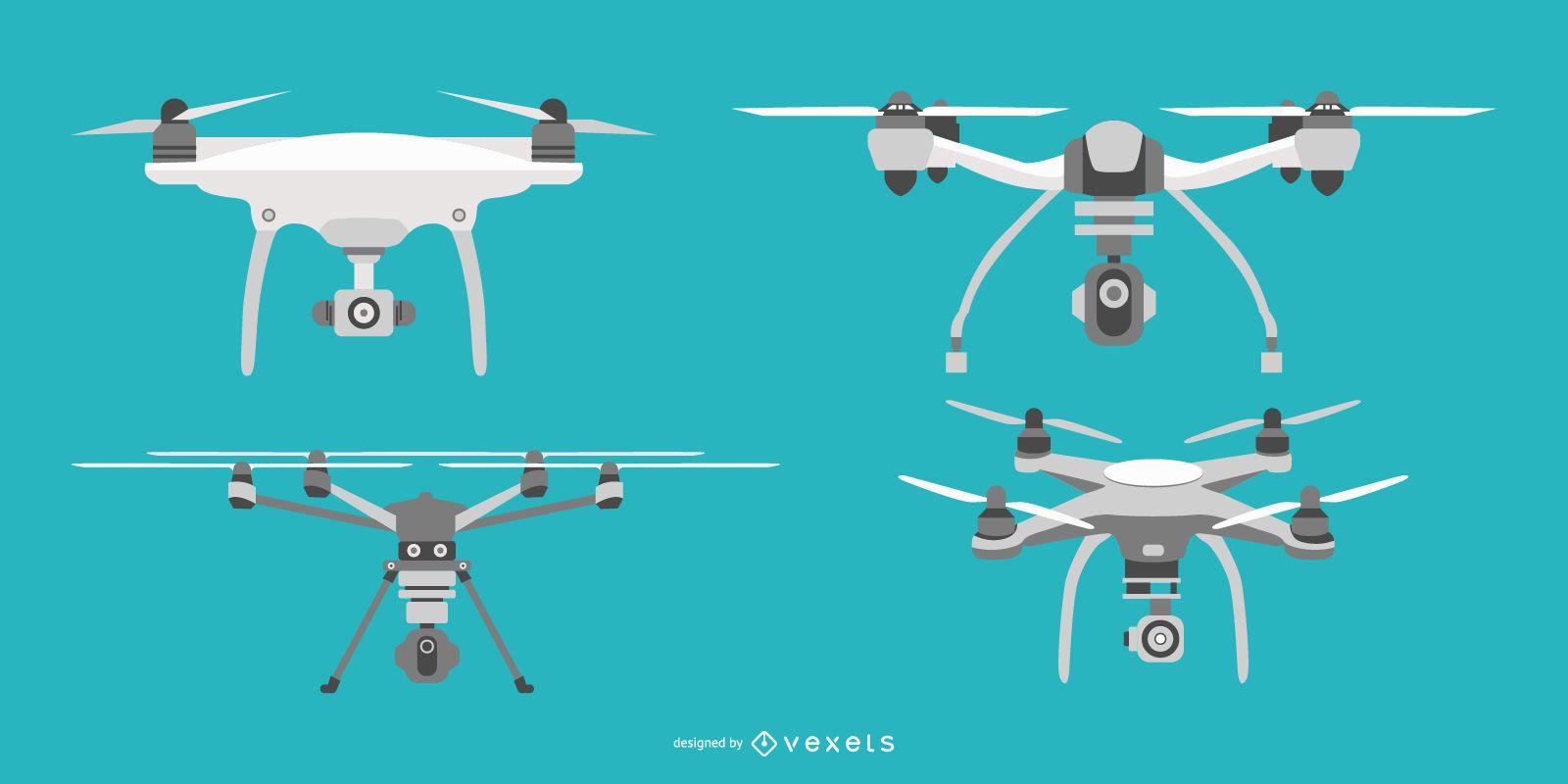 Flat drone illustration set