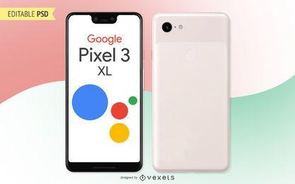 Maqueta PSD de Google Pixel 3 XL
