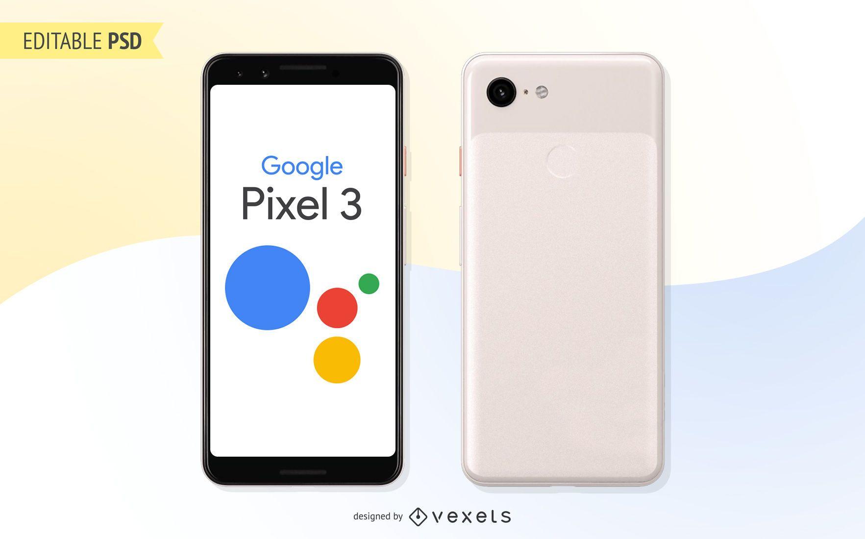 Maqueta PSD de Google Pixel 3