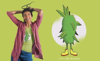 Diseño de camiseta de dibujos animados de marihuana