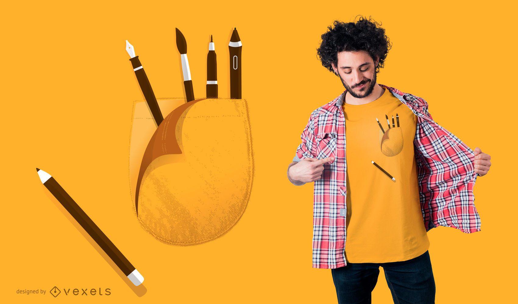 Suministros de arte provenientes del diseño de camisetas de bolsillo
