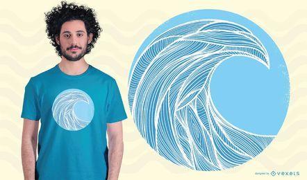Design de t-shirt de estilo de linha de onda