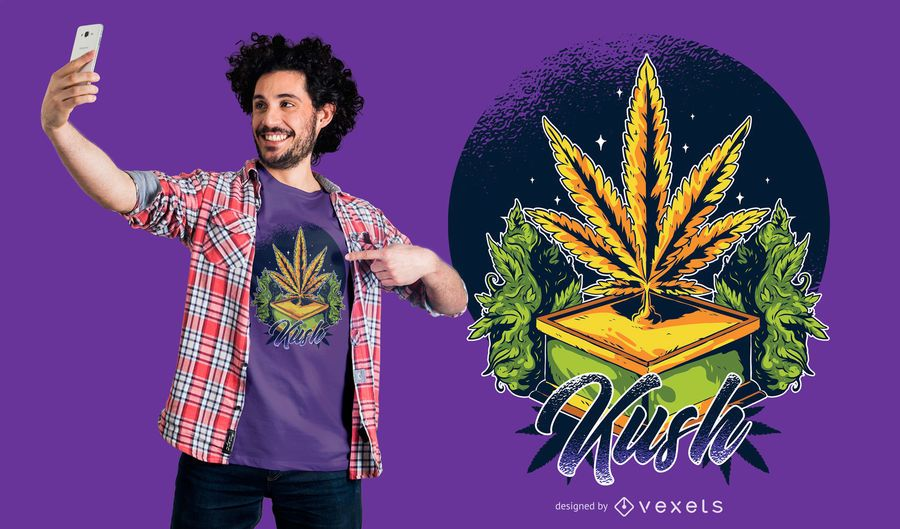 Diseño de camiseta marijuana kush