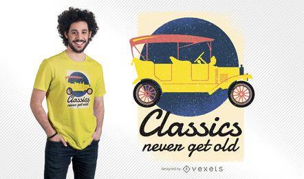 Os clássicos nunca obtêm o projeto velho do t-shirt