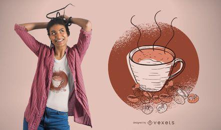 Kaffeetasse und Bohnen T-Shirt Design