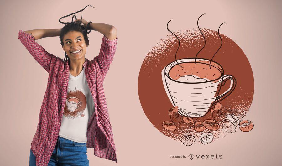 Design de camiseta de café e feijão