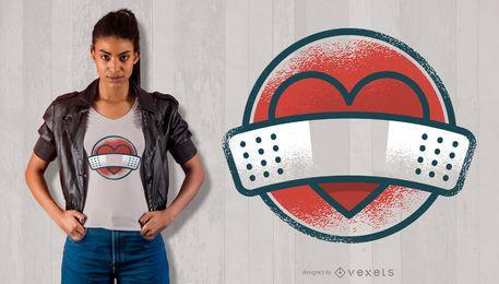 Projeto do t-shirt do coração do penso rápido