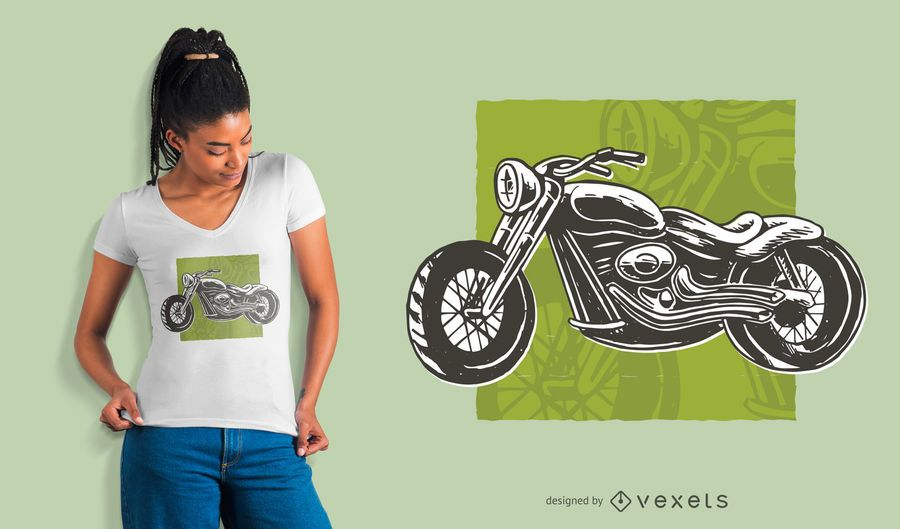 Black and White Motorcycle T-shirt Design