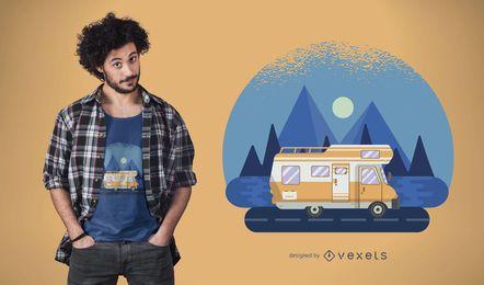 Diseño de camiseta de autocaravana itinerante