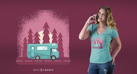 Projeto do t-shirt do viagem do Motorhome