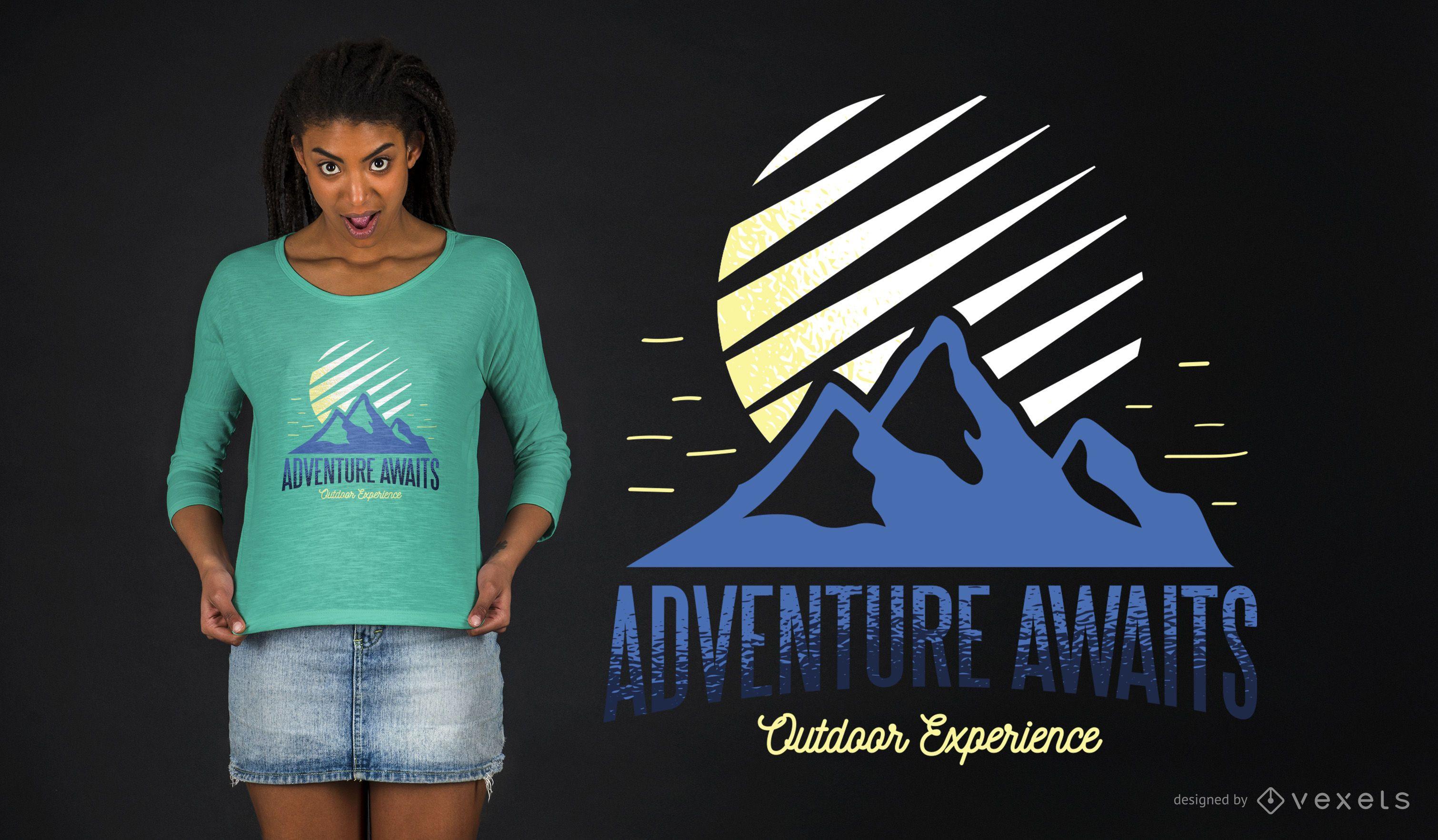 Diseño de camiseta Adventure Awaits Outdoor Experience