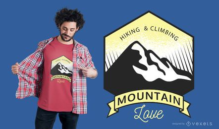 Caminhadas e Escalada Mountain Love Design T-shirt