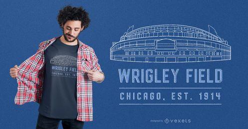 Projeto do t-shirt do estádio do campo de Wrigley