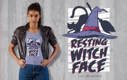 Halloween-stillstehendes Hexe-Gesichts-T-Shirt Design