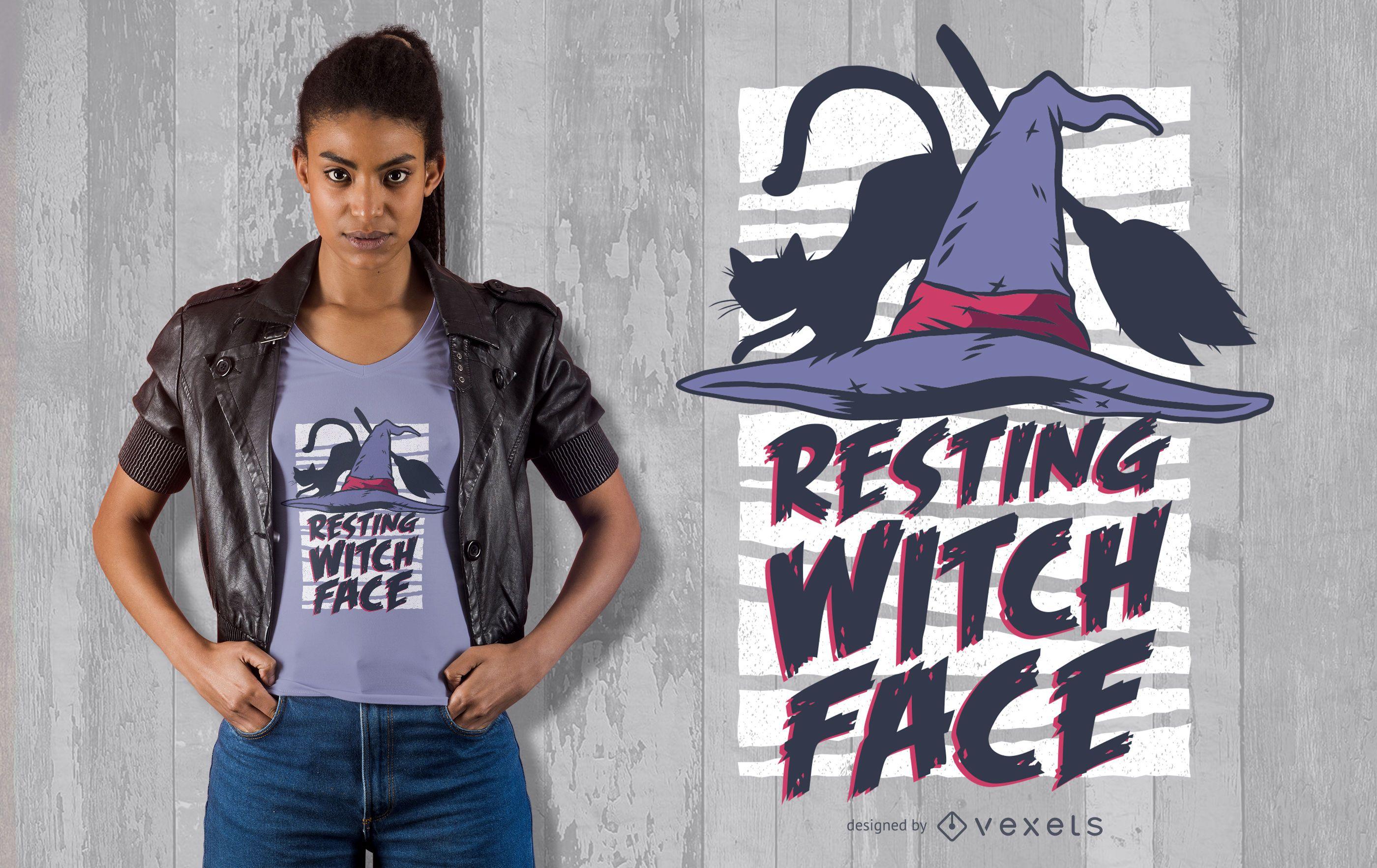 Dise?o de camiseta de cara de bruja en reposo de Halloween