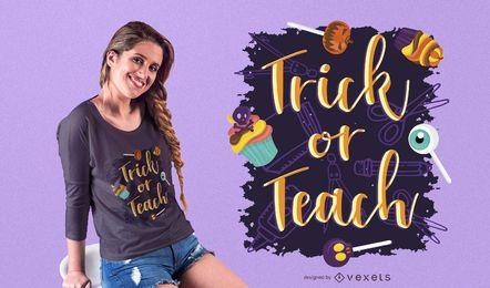 Truco o enseñanza de diseño de camiseta de Halloween