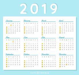 Diseño elegante del calendario 2019