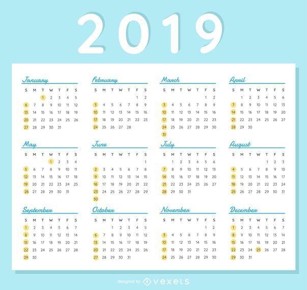 2019 Calendar Elegant Design