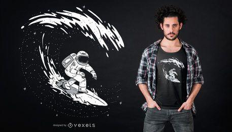 Design de camisetas de surfista de astronauta