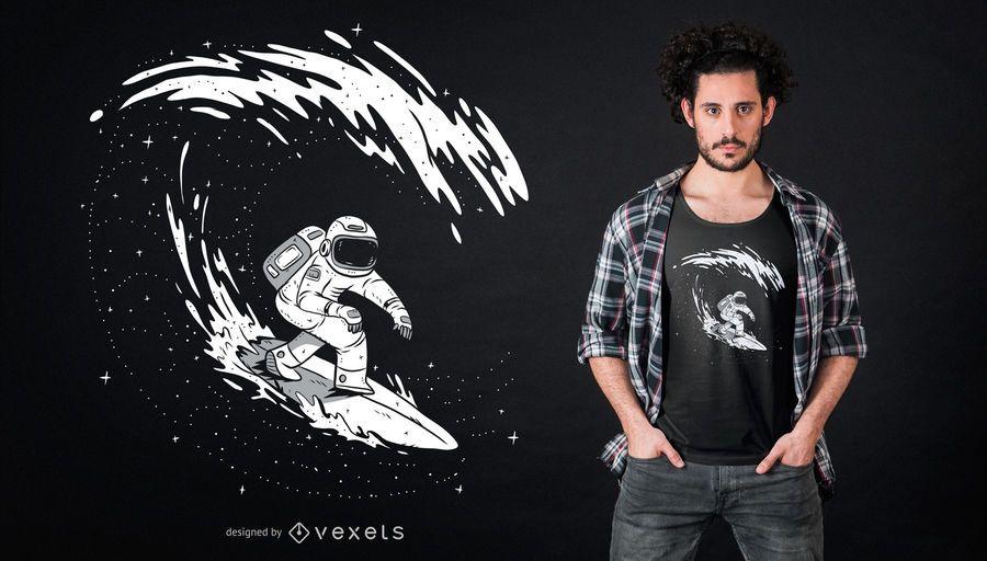 Diseño de camiseta de astronauta de surf
