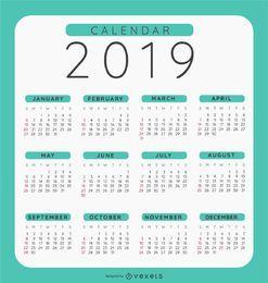 Diseño de calendario redondeado 2019