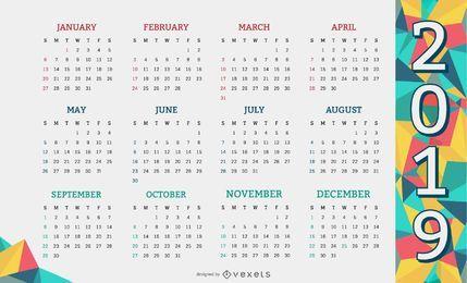 Diseño de calendario de formas geométricas 2019