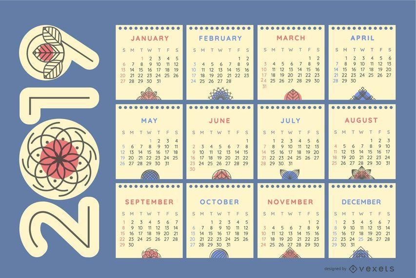 Adornos de la naturaleza calendario 2019 - Descargar vector