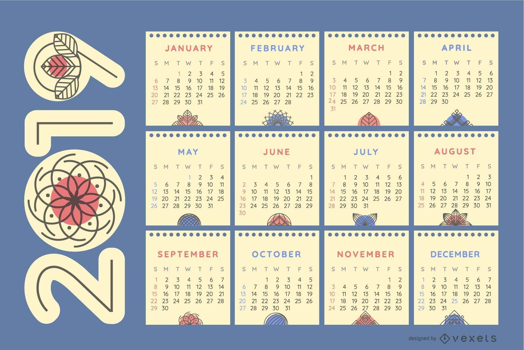 Nature Ornaments 2019 Calendar