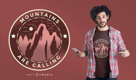 Montañas que llaman diseño de la camiseta