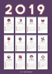Formas geométricas 2019 Diseño de calendario