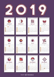Geometric Shapes 2019 Calendar Design