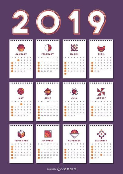 Geometric Shapes 2019 Calendar Design