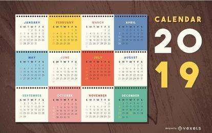 Diseño colorido calendario 2019
