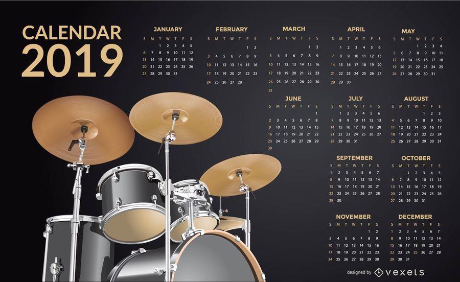Tambores 2019 Calendário Design