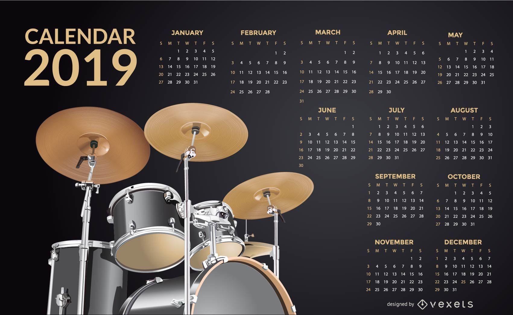 Drums 2019 Calendar Design