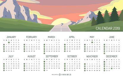 Diseño del calendario paisaje de montaña 2019