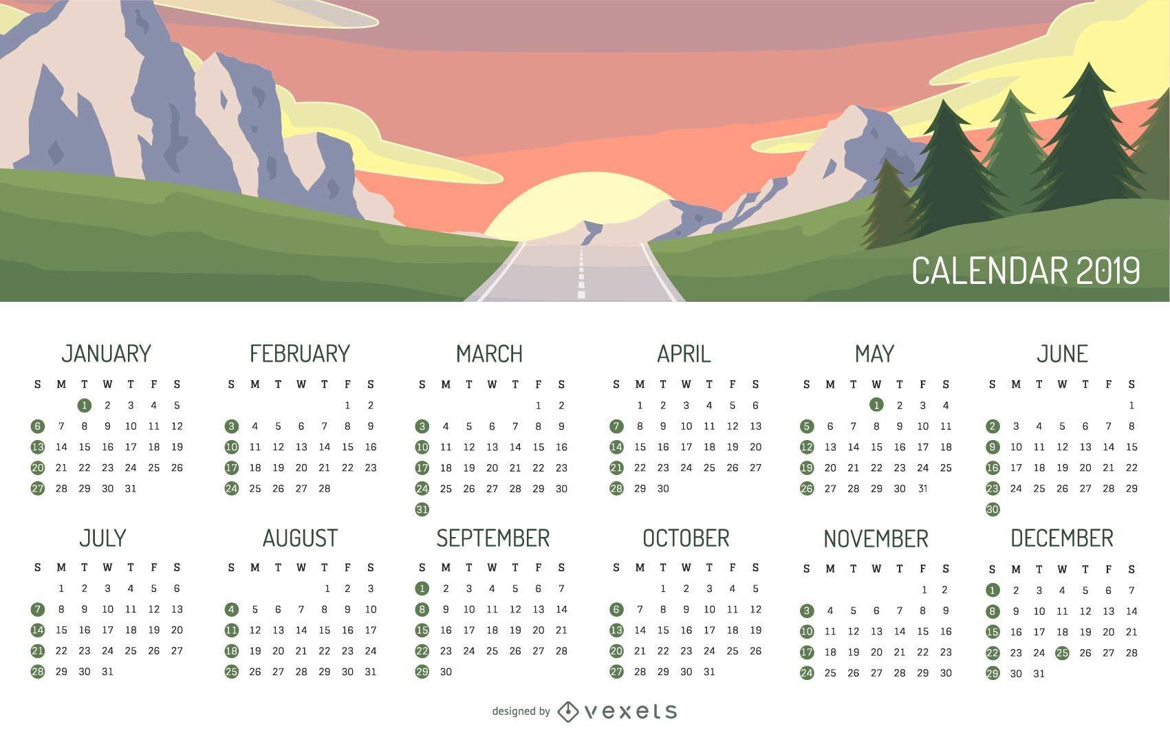 Landscape Calendar 2019 Mountain Landscape 2019 Calendar Design   Vector download