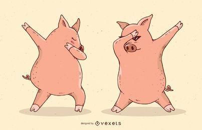 Tupfende Schweine-Vektorillustration