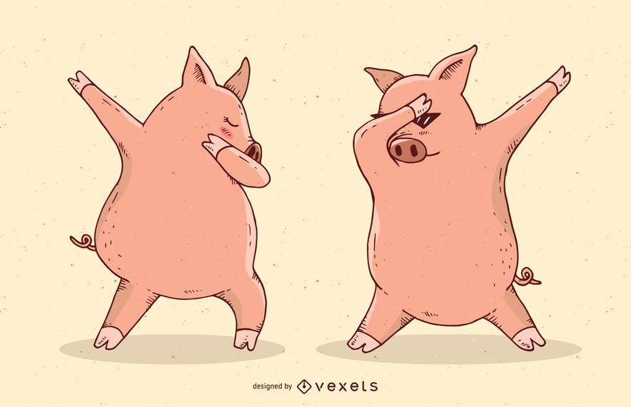 Dabbing cerdos ilustración vectorial