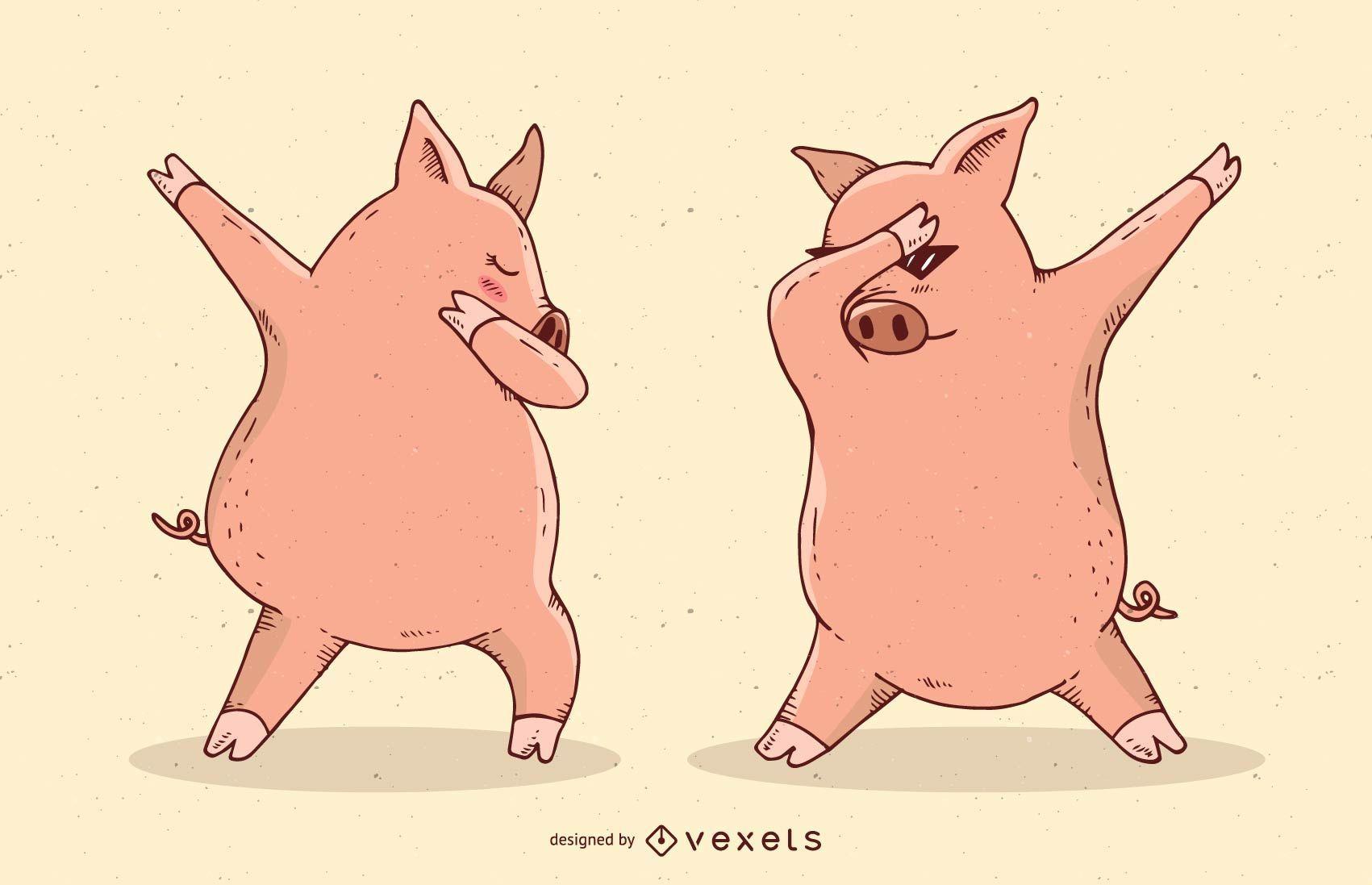 Ilustración de vector de dabbing cerdos