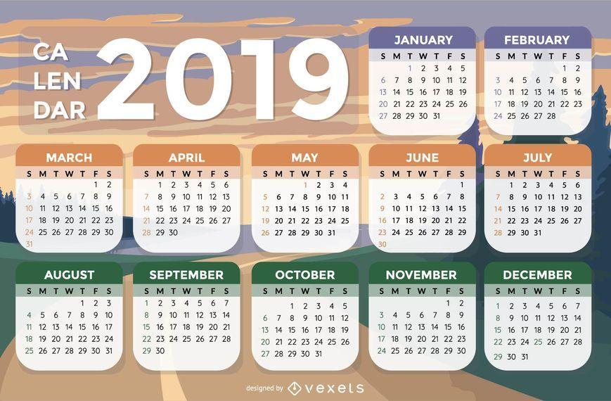 Diseño del calendario del fondo 2019 del paisaje