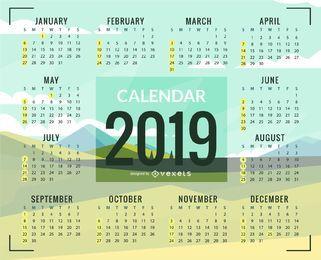 Diseño de calendario Green Plains 2019
