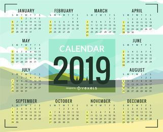 Kalenderdesign der grünen Ebenen 2019