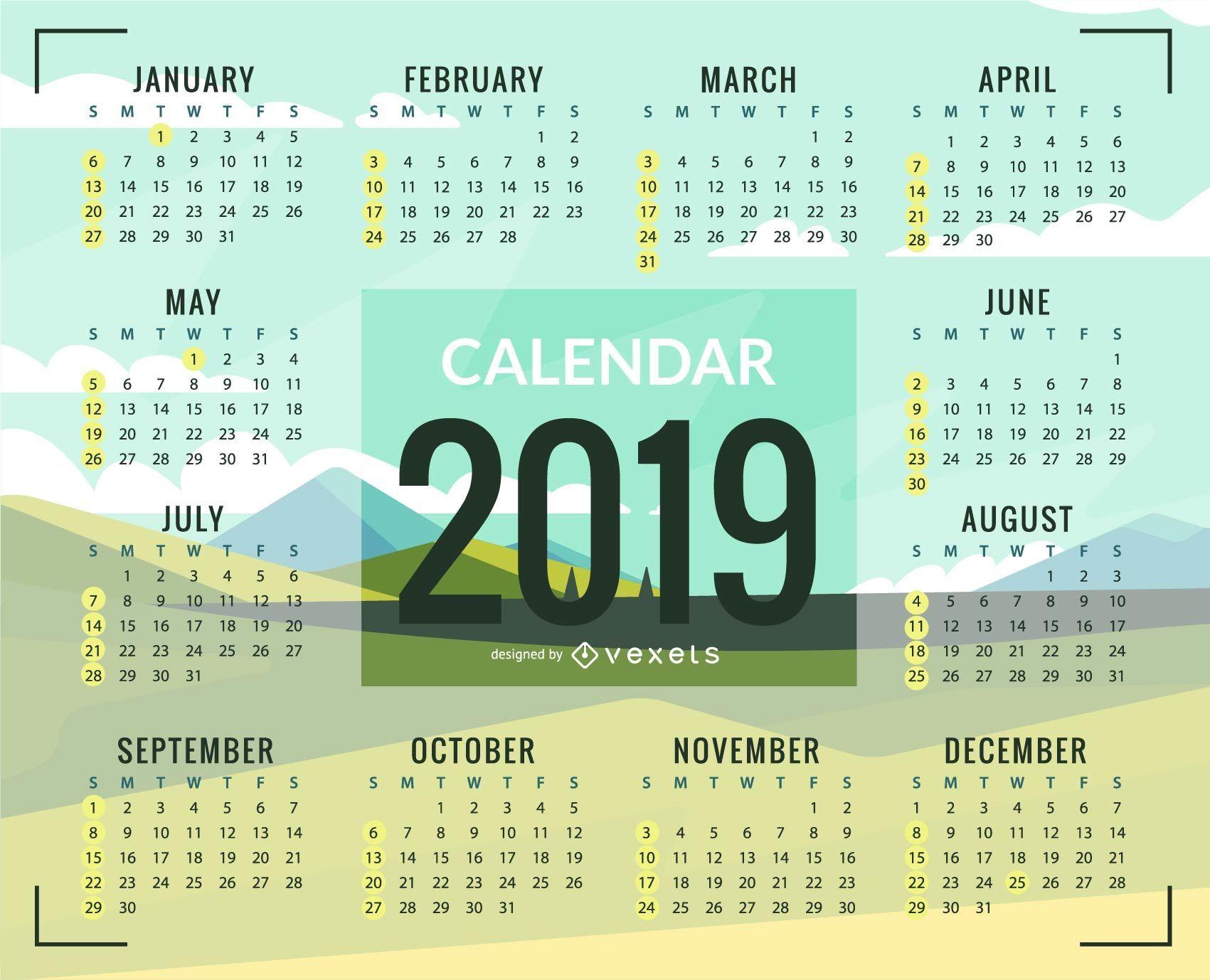 Green plains 2019 Calendar Design