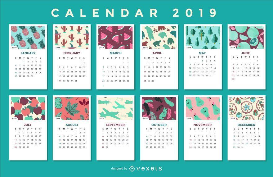 Padrões Sazonais 2019 Calendar Design