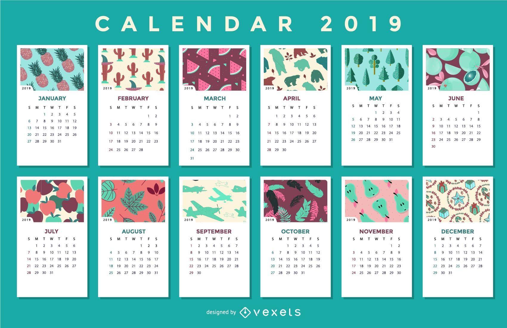 seasonal patterns 2019 calendar design vector download. Black Bedroom Furniture Sets. Home Design Ideas