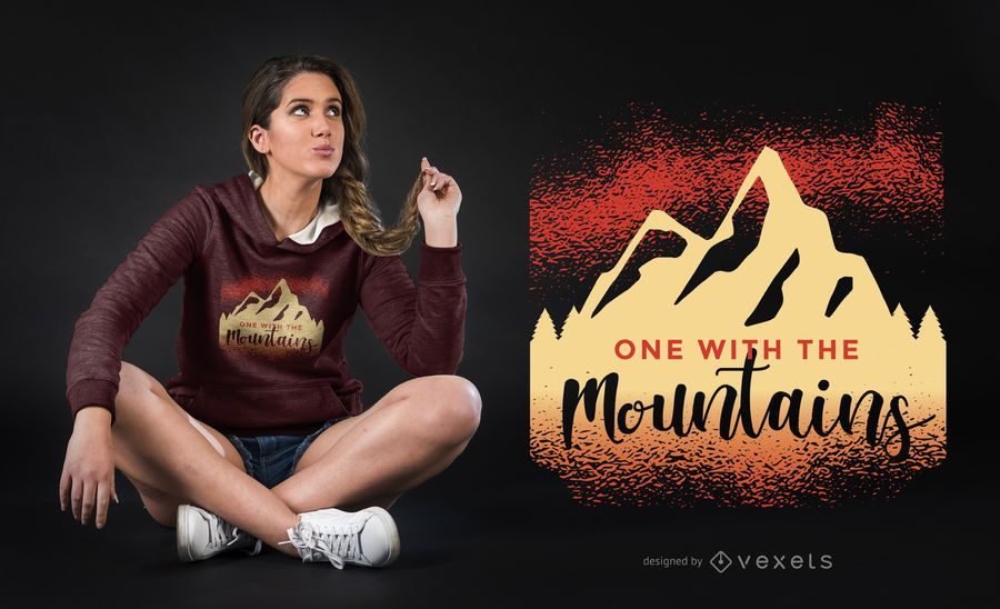 One with the Mountains T-shirt Design