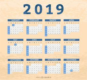 Diseño de calendario cajas de frontera 2019