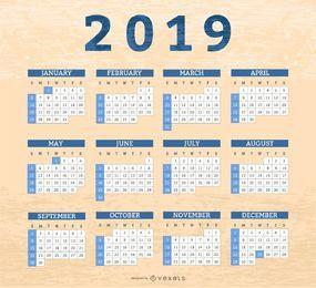 Diseño de calendario de cajas de borde 2019